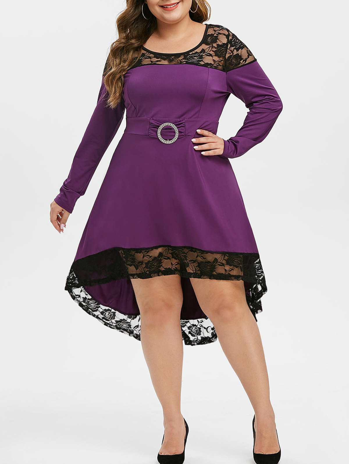 Plus Size Lace Panel High Low Party Dress