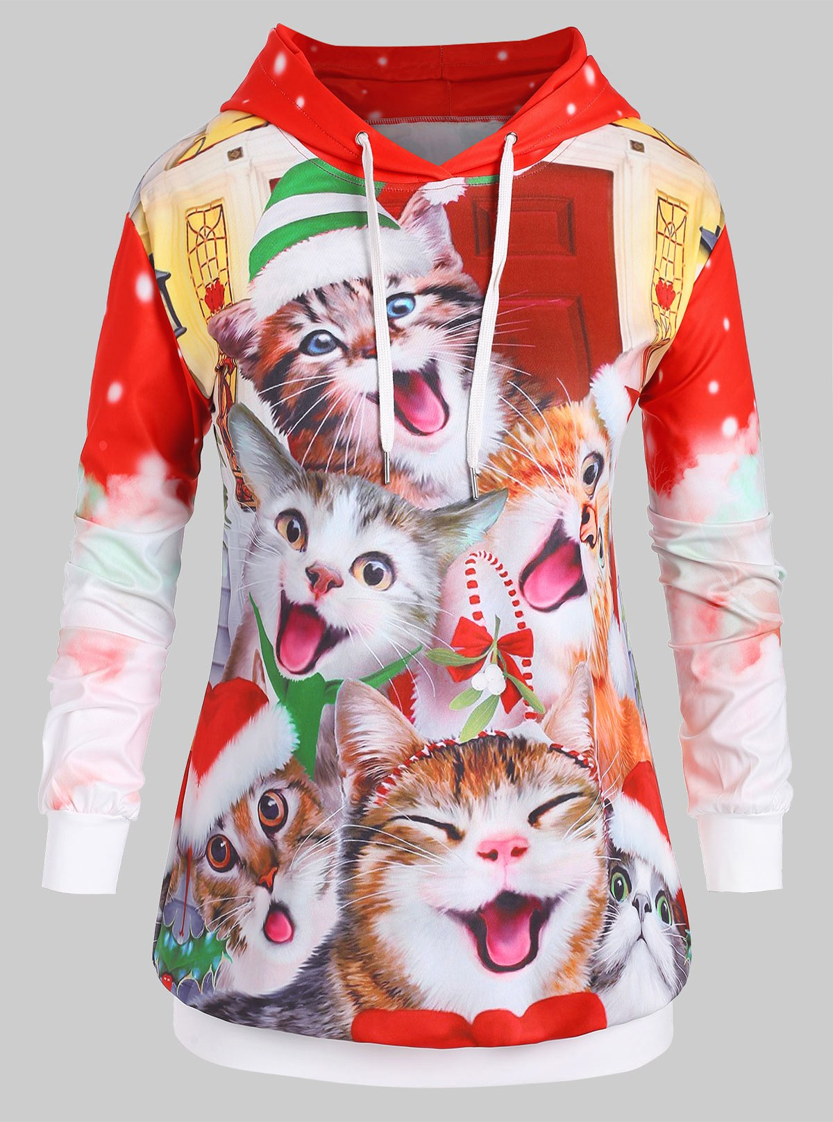 Plus Size Drawstring Cat Print Christmas Hoodie