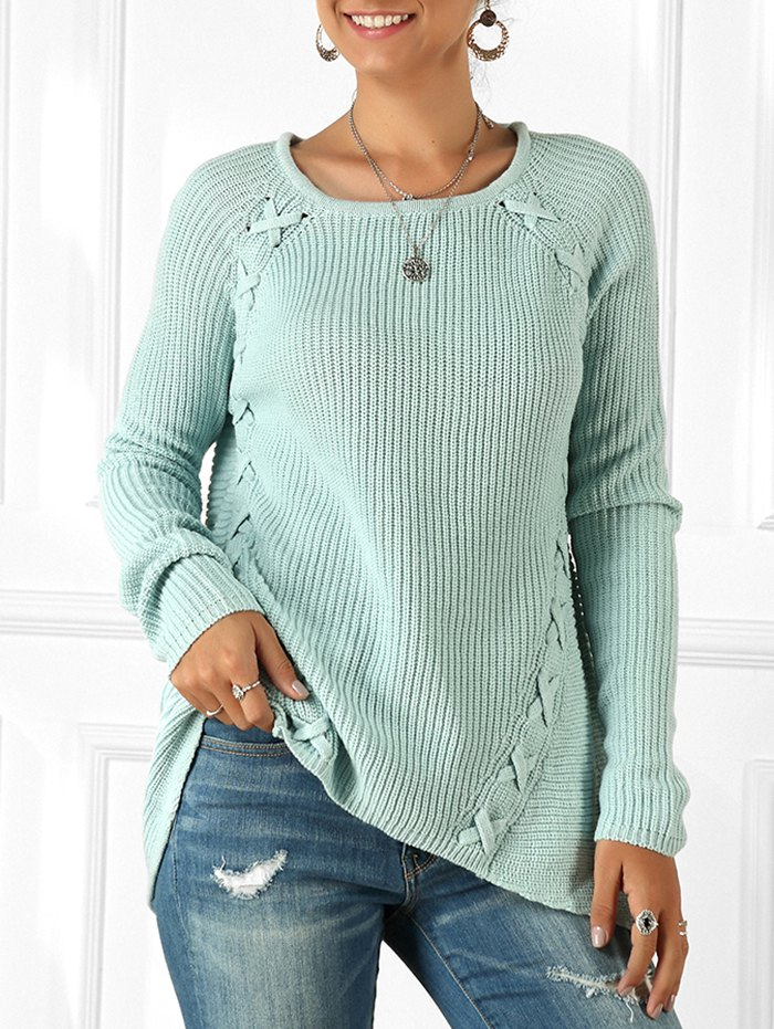 Lace-up Raglan Sleeve Tunic Sweater