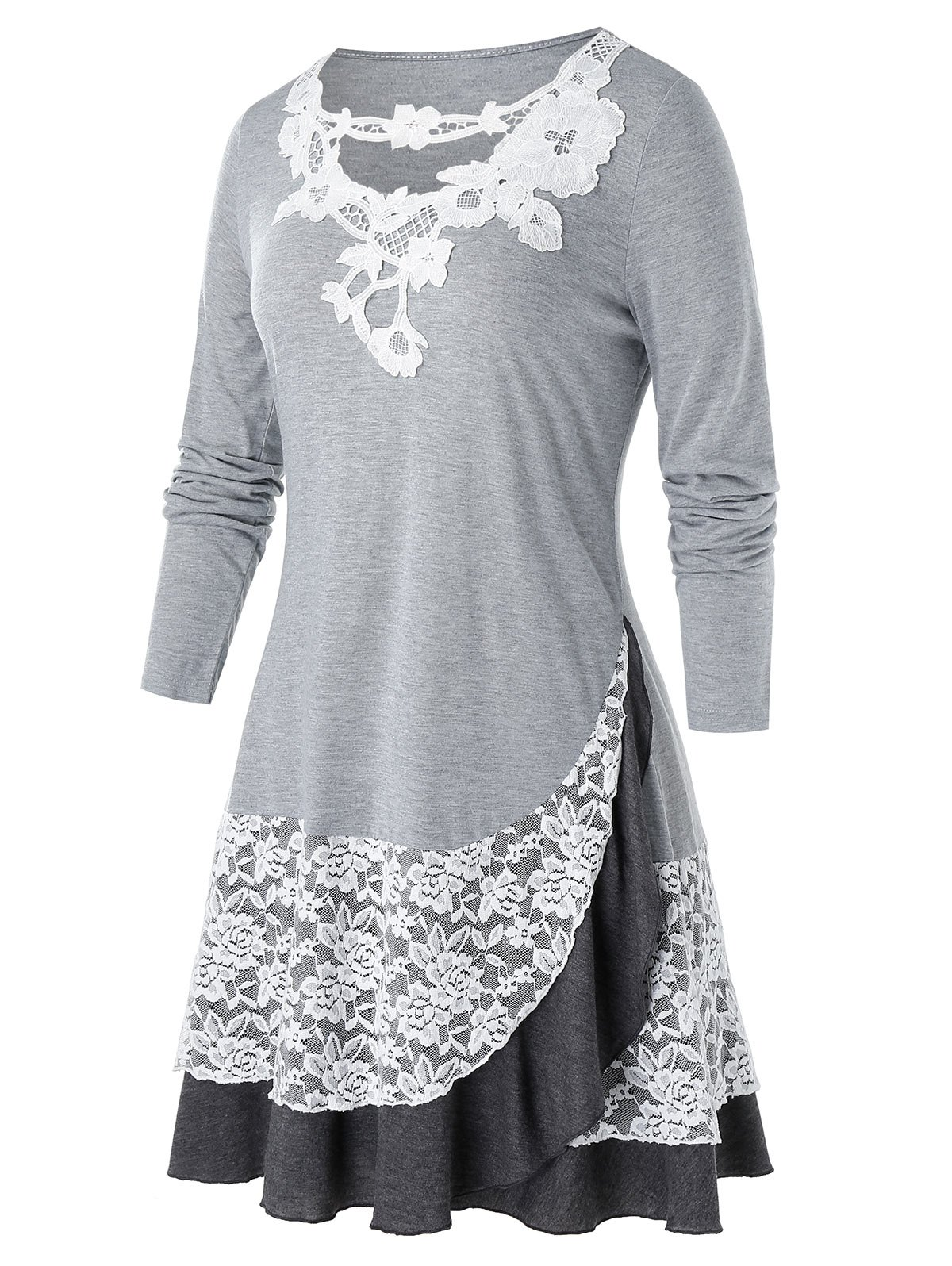 Plus Size Lace Panel Applique Long Sleeve Overlap Tee