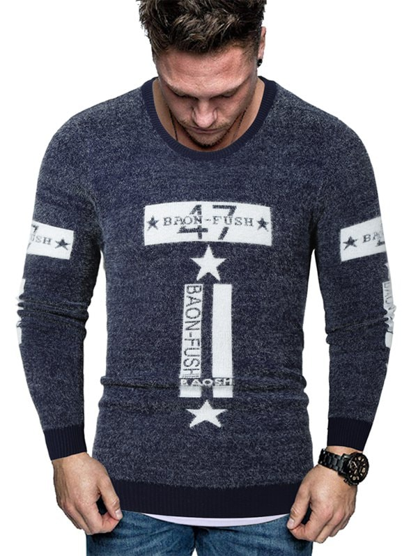 Letter Star Graphic Fuzzy Crew Neck Sweater