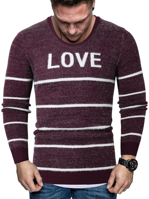 Letter Striped Long Sleeve Fuzzy Sweater