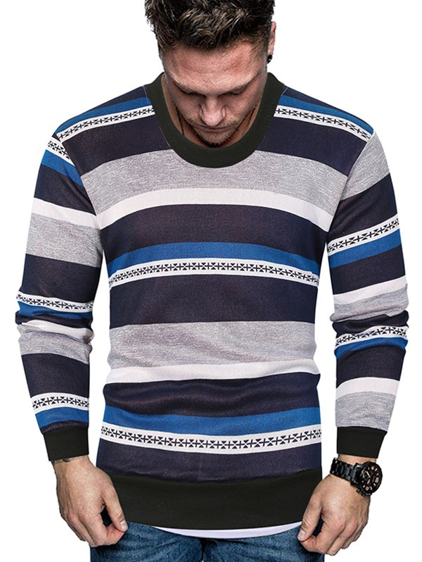 Color-blocking Striped Crew Neck Fleece Sweater
