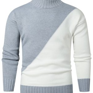 Contrast Color Mock Neck Drop Shoulder Sweater