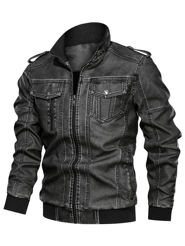 Solid Color Faux Leather Cargo Jacket