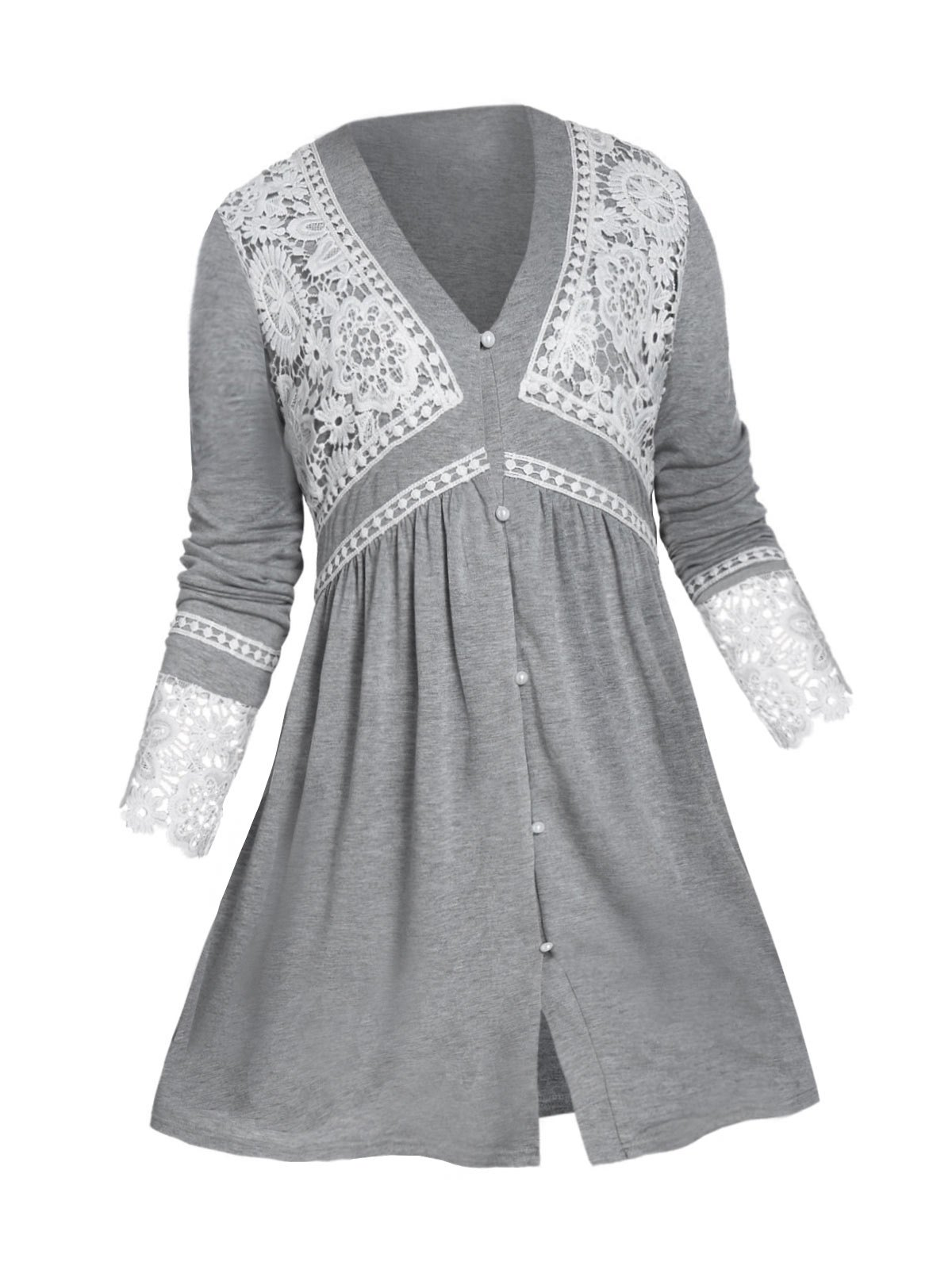 Plus Size Guipure Lace Button Loop Long Sleeve Tee
