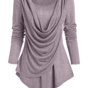 Pointed Hem Heathered Draped Overlap T-shirt