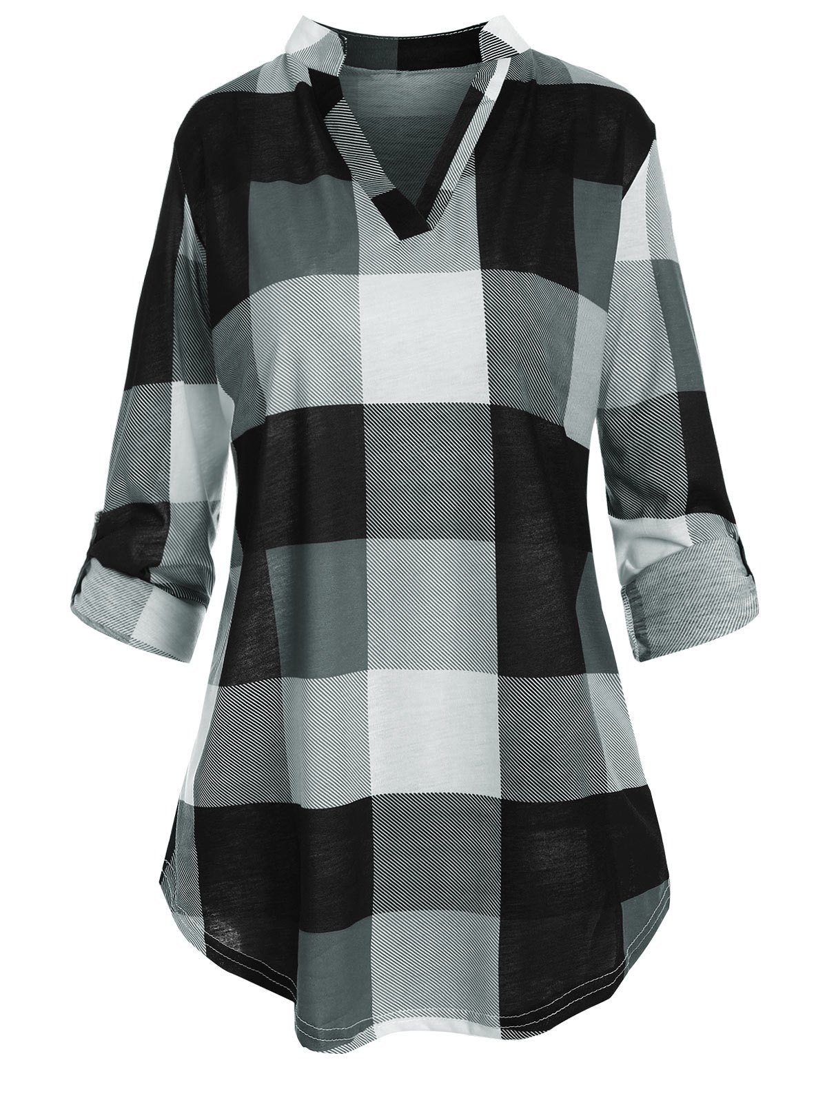 Plus Size Roll Up Sleeve Checked Top