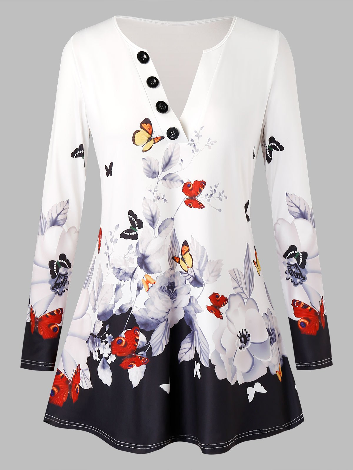 Plus Size Butterfly Floral Print Buttons T Shirt