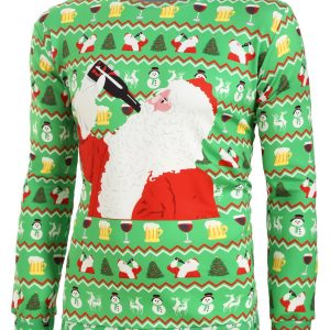 Christmas Santa Drink Pattern Print Long Sleeve Sweatshirt