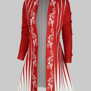 Plus Size Printed Open Front Cardigan